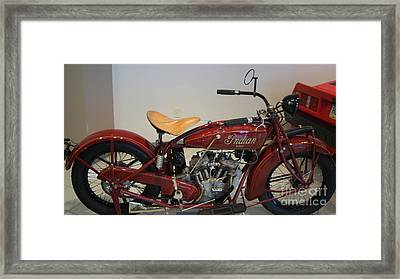 Classic American Indian Motorcycle With Suicide Shift   # Framed Print by Rob Luzier