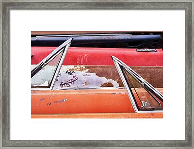 Classic Auto Doors And Windows  Framed Print by Jim Hughes