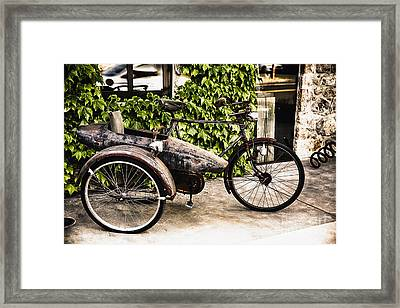 Classic Bicycle With A Side Car In Napa Valley Framed Print