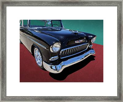 Classic Black And White 1950s Chevy Bel Air Framed Print