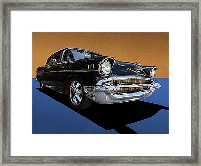 Classic Black Chevy Bel Air With Gold Trim Framed Print