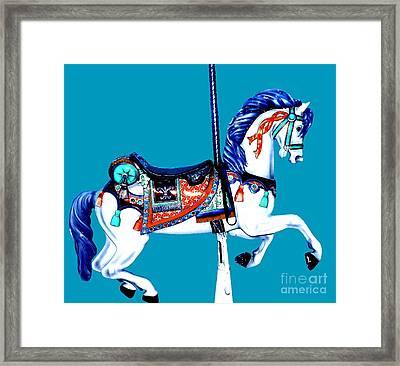 Classic Blue Carousel Horse Framed Print