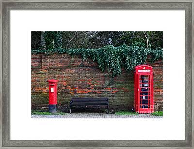 Classic British Pillar Box And Telephone Box Framed Print by James Brunker