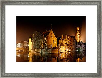 Classic Bruges At Night Framed Print