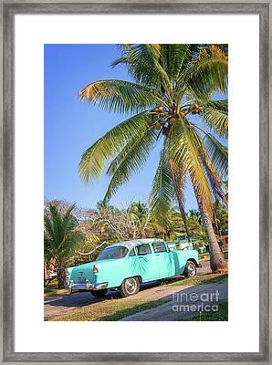 Classic Car In Playa Larga Framed Print