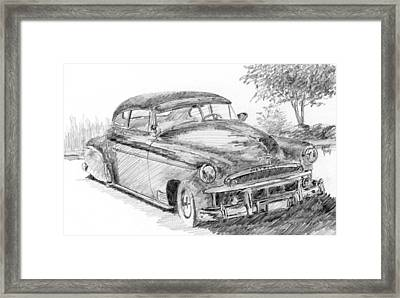 Classic Chevy Coupe Sketch Framed Print by David King