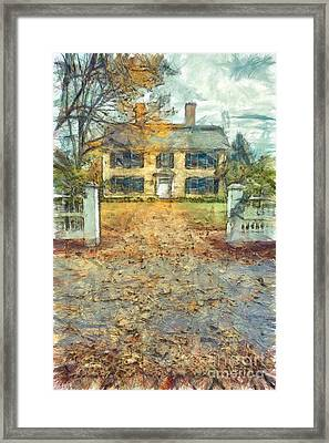 Classic Colonial Home In Autumn Pencil Framed Print by Edward Fielding