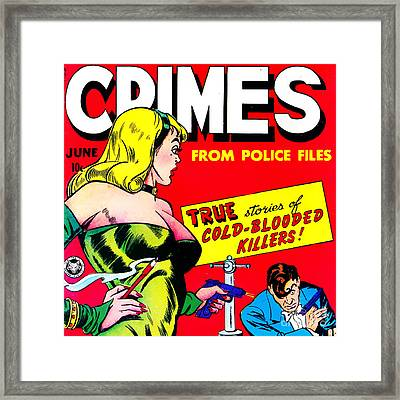 Classic Comic Book Cover Famous Crimes From Police Files 0112 Sq Framed Print