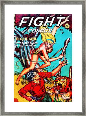 Classic Comic Book Cover Fight Comics Tiger Girl 77 Framed Print by Wingsdomain Art and Photography