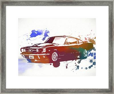 Classic Ford Mustang Watercolor Splash Framed Print by Dan Sproul