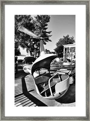 Classic Helicopter Ride At Coney Island Bw Framed Print by Mel Steinhauer