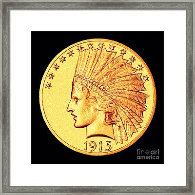 Classic Indian Head Gold Framed Print