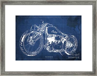 Classic Indian Motorcycle Blueprint Framed Print by Pablo Franchi
