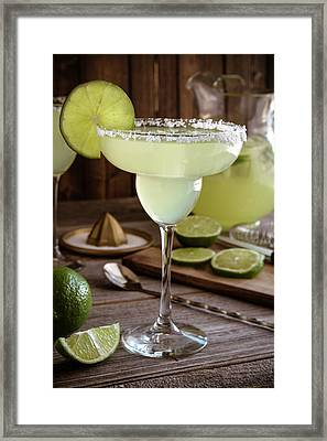 Framed Print featuring the photograph Classic Lime Margaritas On The Rocks by Teri Virbickis