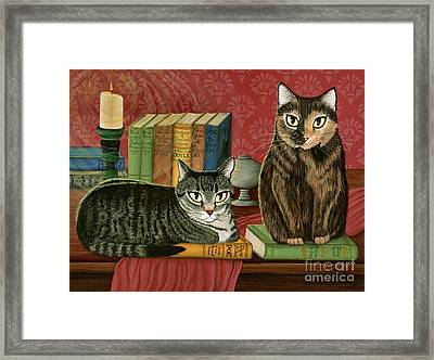 Framed Print featuring the painting Classic Literary Cats by Carrie Hawks