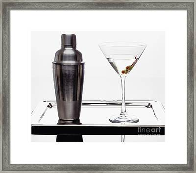 Classic Martini With Green Olives Framed Print by George Oze