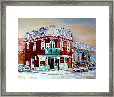 Classic Montreal Storefront Painting Peloponissos Pizza Bakery Neighborhood Memories Canadian Art  Framed Print by Carole Spandau