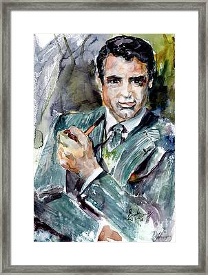 Classic Movies Actor Cary Grant  Framed Print by Ginette Callaway