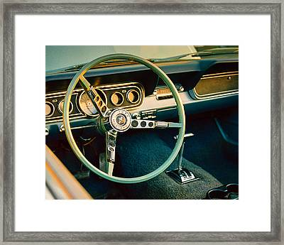 Classic Mustang Steering Wheel Framed Print by Jon Woodhams