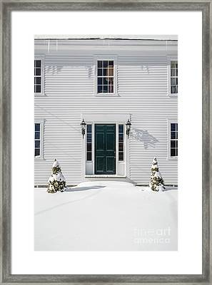 Classic New England Wood Framed Colonial Home In Winter Framed Print by Edward Fielding