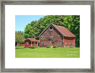 Classic Old Red Barn In Vermont Framed Print