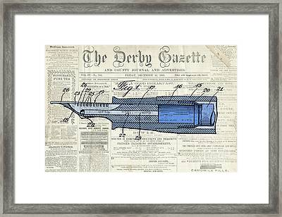 Classic Pen Drawing Patent, Blue On Old Newspaper Framed Print