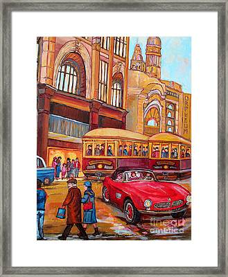 Classic Red Convertible Downtown Montreal Vintage 1946 Scene Canadian Painting Carole Spandau        Framed Print by Carole Spandau
