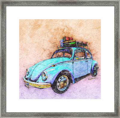 Classic Road Trip Ride Watercolour Sketch Framed Print