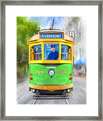 Classic Streamline Streetcar - Savannah Riverfront Framed Print by Mark Tisdale