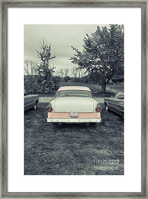 Classic Two Tone Pink Car Parked Framed Print by Edward Fielding