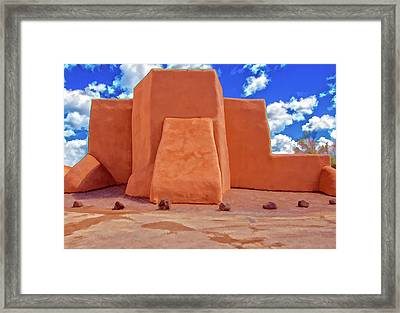 Classic View Of Ranchos Church As Oil Framed Print by Charles Muhle