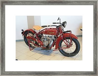 Classic Vintage Indian Motorcycle Red   # Framed Print by Rob Luzier