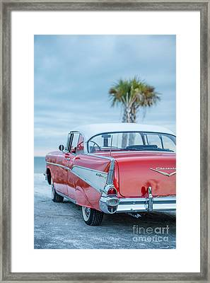 Classic Vintage Red Chevy Belair  Framed Print by Edward Fielding