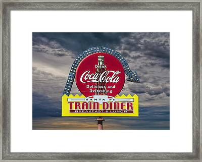 Classic Vintage Sign For A Train Diner And Coca-cola Framed Print