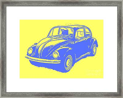 Classic Vw Beetle Tee Blue Ink Framed Print by Edward Fielding