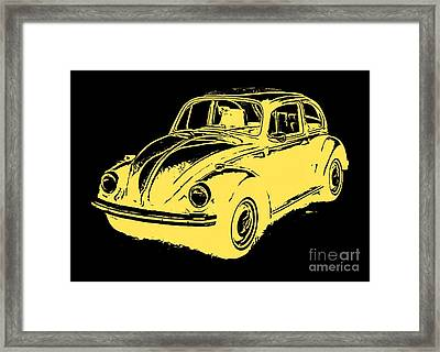 Classic Vw Beetle Tee Yellow Ink Framed Print by Edward Fielding