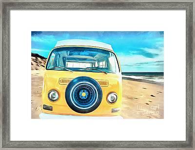 Classic Vw Camper On The Beach Framed Print