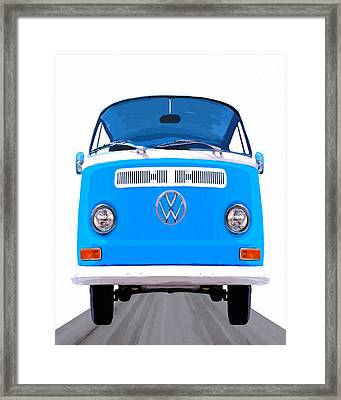 Classic Vw Van - On The Road Again Framed Print