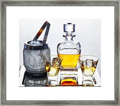 Classic Whiskey Serving Framed Print by George Oze