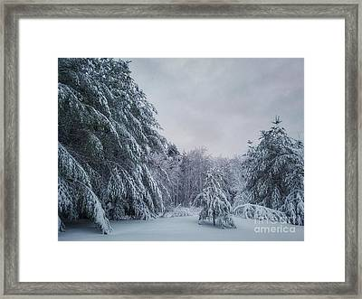 Classic Winter Scene In New England  Framed Print