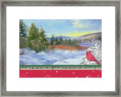 Classic Winterscape With Cardinal And Reindeer Framed Print