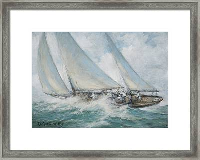 Classic Yacht  Twixt Wind And Water Framed Print