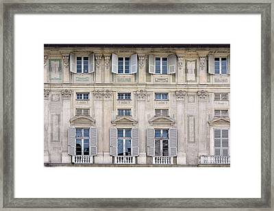 Classical Details On A Building Facade From Genova, Italy Framed Print by Oana Unciuleanu