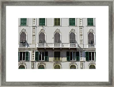 Classical Facade From Genova With Detailed Decoration Ornaments Framed Print by Oana Unciuleanu