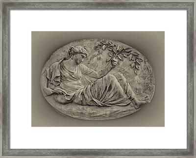 Classical Greek Woman Fresco Framed Print by Bill Cannon