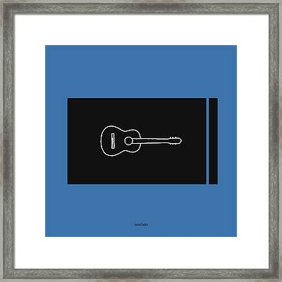 Classical Guitar In Blue Framed Print by David Bridburg