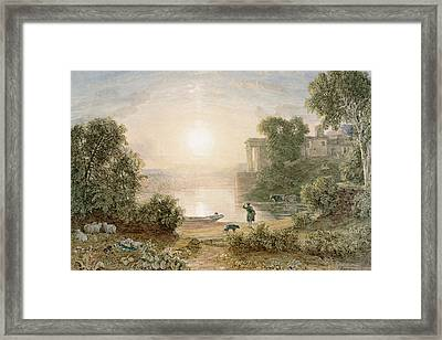 Classical Landscape Framed Print by George the Younger Barret