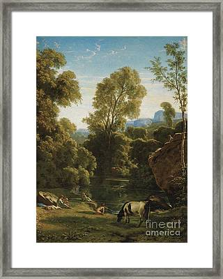 Classical Landscape With Figures By A Lake Framed Print