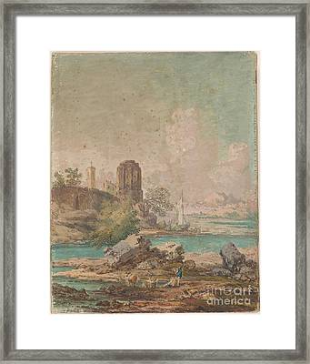 Classical Landscape With People And Cattle On Shore Or Lake Framed Print