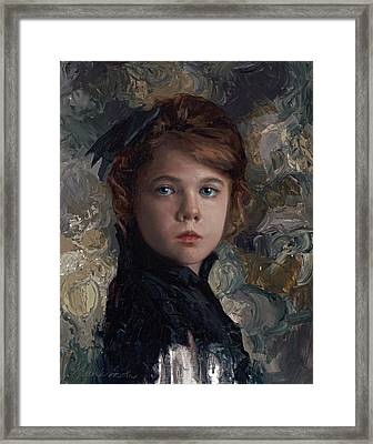 Framed Print featuring the painting Classical Portrait Of Young Girl In Victorian Dress by Karen Whitworth